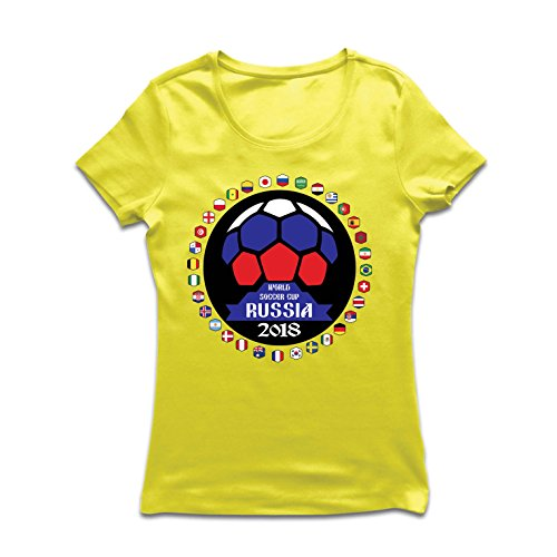 lepni.me Camiseta Mujer Las 32 Banderas del Equipo de fútbol Nacional - Copa del Mundo de fútbol de Rusia 2018 (Large...