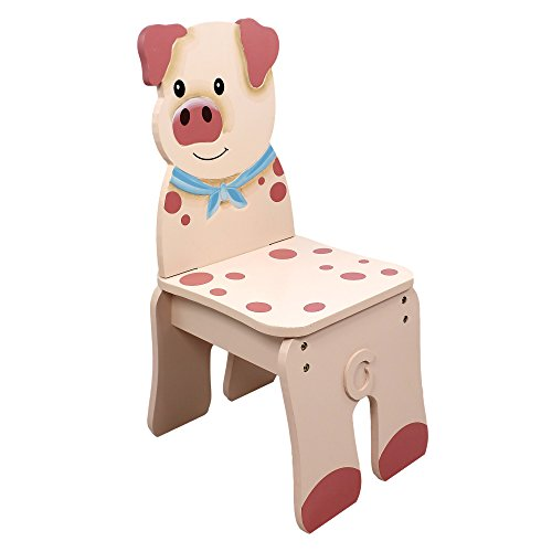 Hand Painted Childrens Table (Fantasy Fields - Happy Farm Animals Thematic Kids Wooden Pig Chair | Imagination Inspiring Hand Crafted & Hand Painted Details | Non-Toxic, Lead Free Water-based Paint)