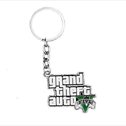 Liz Collection Inspired by Game PS4 GTA V Grand Keychain Theft Auto 5 Keychain Xbox PC Rockstar Keyring for Men Boys Gift Jewelry Llavero for Fans (2)