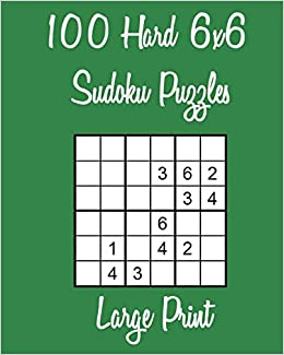 picture relating to 6x6 Sudoku Printable named 100 Difficult 6x6 Sudoku Puzzles Weighty Print: Danny Hughes