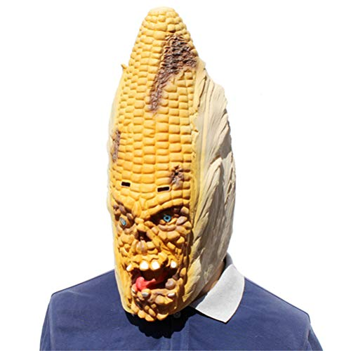 Corn Monster with Open Mouth Halloween Creepy Mask Haunted House Prop Scary Zombie Face Trick Cosplay Fun Game