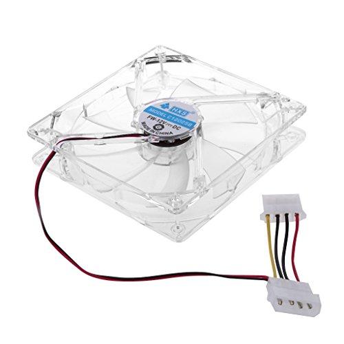 BYNNIX 4 Colorful LED Light 120mm Computer PC Clear Case Quad Heatsink CPU Cooling Fan