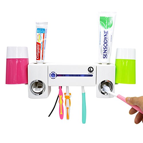UV Light Toothbrush Sterilizer Sanitizer Toothpaste Squeezer Wall Mounted Toothbrush Holder Automatic Toothpaste Dispenser Set