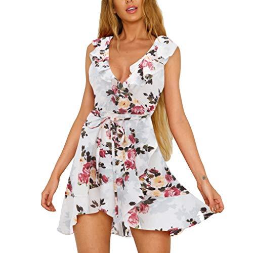 10802e44207 Manches Femmes Casual V D été Moonuy Sexy Mini Dress Chic À Courtes Imprimer  Robe Cou Dames Fleur Blanc Volants PqS6w