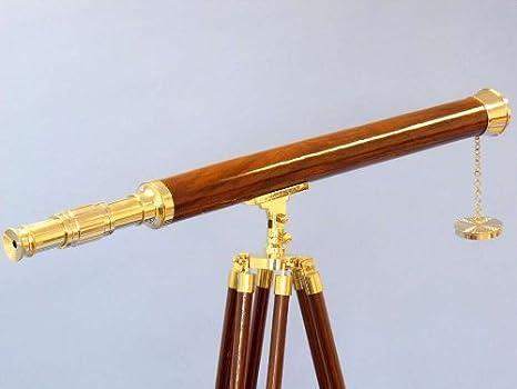 Hampton Nautical Floor Standing Brass Harbor Master Telescope Brass 60 Handcrafted Model Ships ST-0123 plain 60