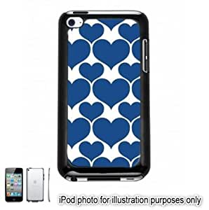 Blue Hearts Love Monogram Pattern Apple iPod 4 Touch Hard Case Cover Shell Black 4th Generation
