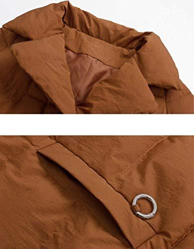 Large Épaisseur Outdoor Désinvolte Chic Longues Femme Manteau Doudoune Blouson Couleur Mode Caramel Revers Unie Battercake Quilting Parka Manches Warm Hiver wIpqnvCZC6