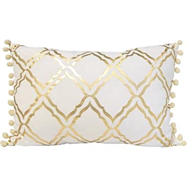 Decorative Pillow in Gold Foil Motif with Pompom Trim