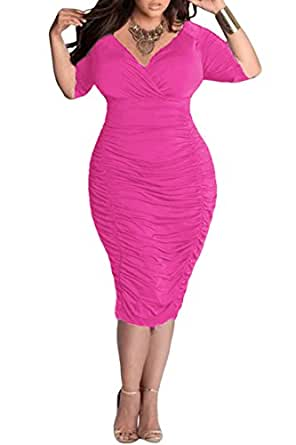 Pink Queen Womens Plus Size Deep V Neck Wrap Ruched Waisted Bodycon Dress L Azalea Pink