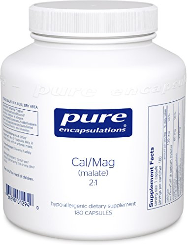 Pure Encapsulations - Cal/Mag (Malate) 2:1 - Hypoallergenic Calcium and Magnesium Supplement in a 2-to-1 ratio - 180 Capsules Cal Mag Calcium