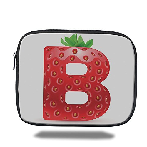 Laptop Sleeve Case,Letter B,Tropical Food and Capital B Delicious Looking Sweet Juicy Type Display Decorative,Vermilion Green Orange,iPad Bag by iPrint
