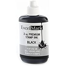 ExcelMark Premium Stamp Refill Ink, Black, 2 Ounce Bottle