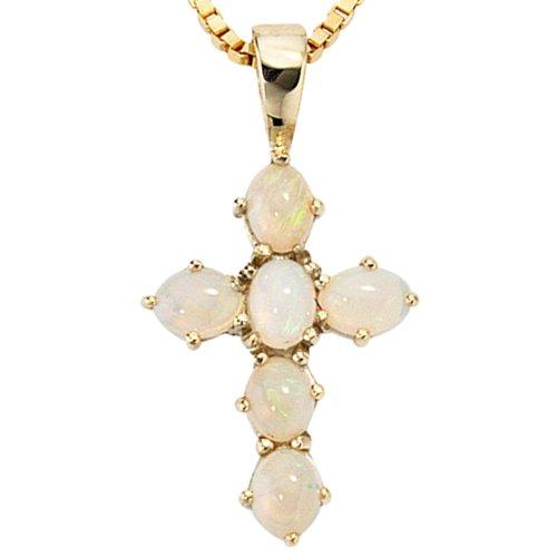Belamonda Damen Anhänger Kreuz 585 Gold Gelbgold 6 Opale