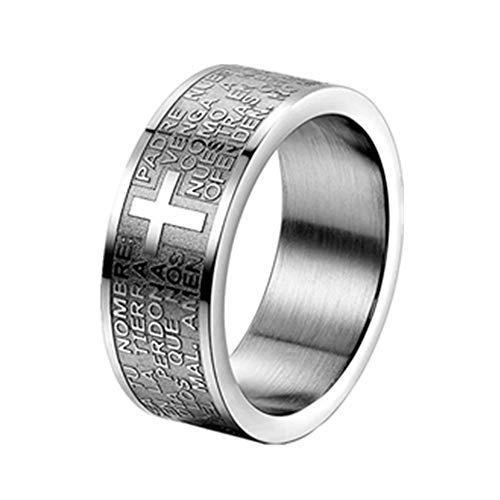 JewelryWe Schmuck Herren-Ring, Damen-Ring, Edelstahl, Bibel Gebet Kreuz, Silber