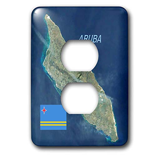 3dRose lens Art by Florene - Topo Maps And Flags - Image of Aerial Topo View With Flag Of Aruba - Light Switch Covers - 2 plug outlet cover (lsp_306862_6)