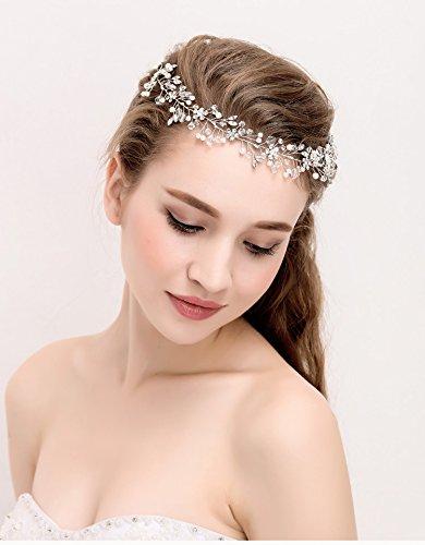 Hair Vine Pearl Flower Headband Women Hairband Bridal Wedding Headpiece (Bridal Floral Veil)