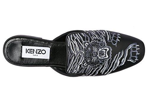 Kenzo Damen Leder Sandalen Pantolette ì Schwarz