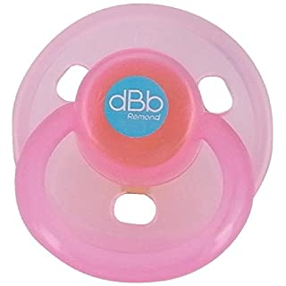 dBb Remond Round Rubber Soothers Pack, Translucent Pink, 2-Count