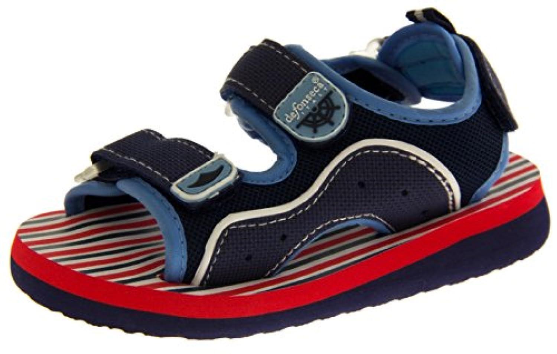 De Fonseca Boys Girls Kids Red & Navy Skulls - With Buckle Summer Beach Sandals 5 UK / 22 EU (Toddler)