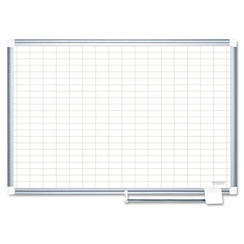MasterVision - Grid Planning Board, 1x2'' Grid, 48x36, White/Silver MA0592830 (DMi EA by MasterVision