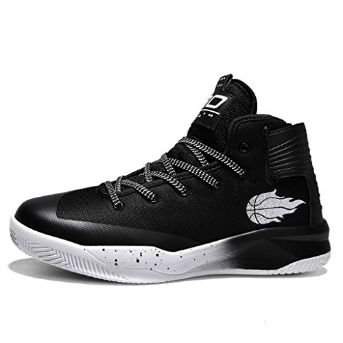 High-top Sneakers for Men 2019 Newest Casual Round Toe Fashion Lace-up Running Sports Shoes (US:9, Black)