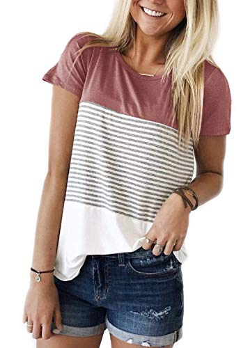 (ZAWAPEMIA Womens Striped Tshirt Triple Color Block Short Sleeve Casual Blouse XL Pink)
