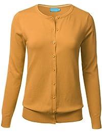 FLORIA Women Button Down Crew Neck Long Sleeve Soft Knit...