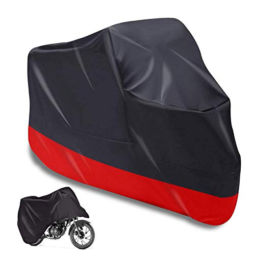 (Honestptner All Weather Motorcycle Cover, Water Resistant 360 Degree Full Protection Scooter Cover for Snow, Sun, Rainy, Bike Cove Fits Up to 108