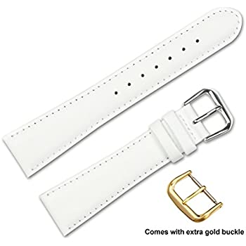 deBeer brand Smooth Leather Watch Band (Silver & Gold Buckle) - White 12mm