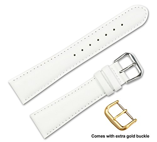 debeer-brand-smooth-leather-watch-band-silver-gold-buckle-white-19mm