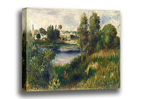 Canvas Print Wall Art - Landscape at Vetheuil- by Pierre Auguste Renoir - Giclee Prints Stretched in Gallery Wrap Style with Mirrored Edges - 18x12 inch