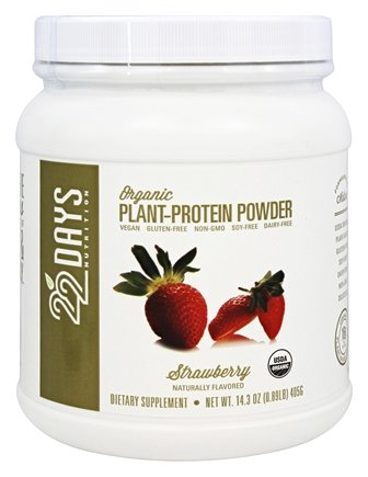 22 Days Nutrition - Organic Plant-Protein Powder Strawberry - 14.3 oz.