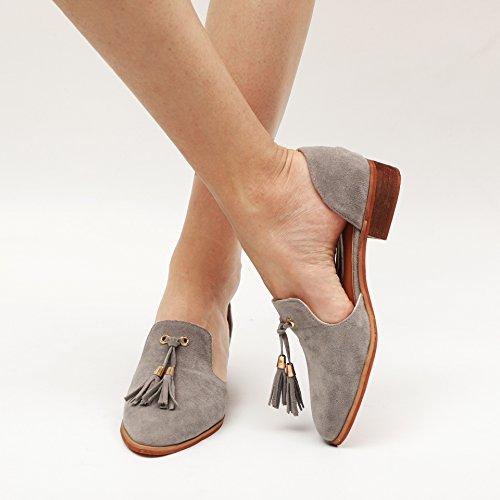 35 43 Pointu Bout Gris Bouche Mocassins Femmes Yying Profonde Gland Suede Peu Léger Chaussures BFPpSq7xn