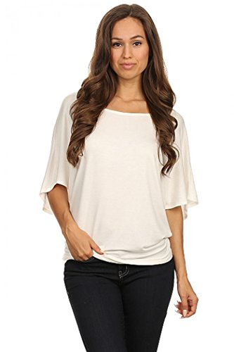 ColorMC Women's Plus Size Boat Neck 3/4 Flutter Sleeve Knit Tunic Sleeve Top 2XL Off White Silk Flutter Sleeve Top
