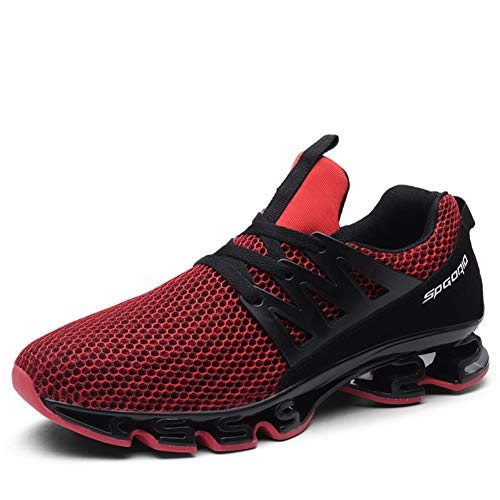 Biacolum Mens Fashion Sneakers Mesh Athletic Blade Outsole Breathable Track Shoes Black-Red