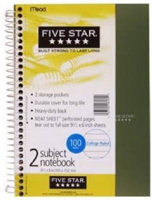 Five Star 6 x 9 100 fogli 1//2 Quaderno rilegato a spirale 2 soggetti confezione da 2