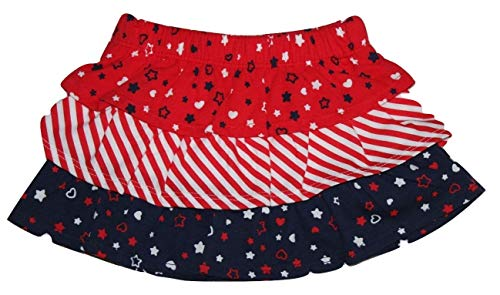 Infant Baby Girls Soft Knit Americana USA Theme Separates (Tiered Pull On Skirt w/Attached Diaper Cover, 0-3 mo.)