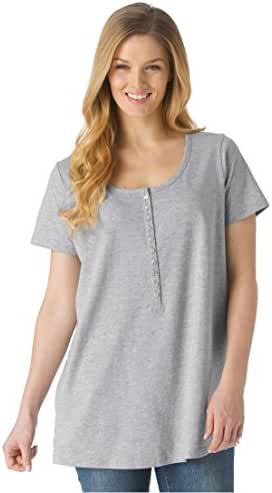 Women's Plus Size Perfect T-Shirt With Scoop Henley Neck