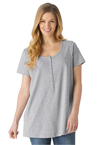 Women's Plus Size Perfect T-Shirt With Scoop Henley Neck Heather Grey,2X
