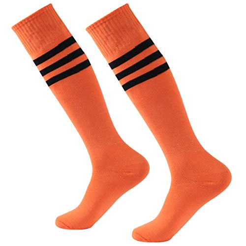 Baseball Socks,Fasoar Mens Womens Youth Over the Calf Rugby Boots Soccer Socks 2 Pairs Orange
