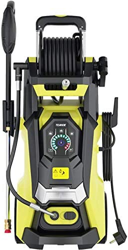 TEANDE 3800 PSI Electric Pressure Washer Smart High Pressure Power Washer 2.8 GPM 1800W Powerful Cleaner Machine with with Hose Reel, Touch Screen 3 Gear Level, 4 Nozzles, 15 Level Pressure (Yellow)
