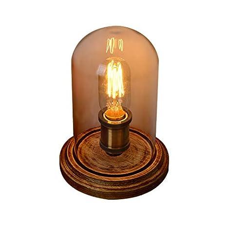 KunMai Industrial Style Edison Bulb Glass Cloche Wood Base