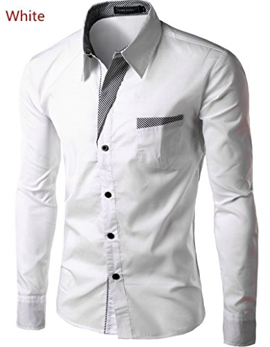 delicate maket Fashion Mens Casual Slim Fit Long Sleeve Casual Dress Shirts Autumn WInter Outwear Plus Size S-XXXXL(Pink,US S(Asian L))
