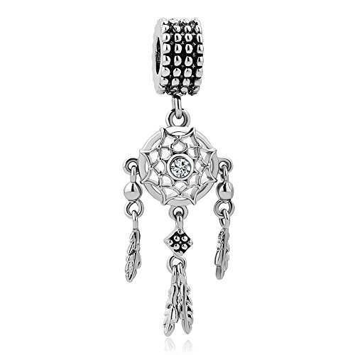 Q&Locket Dream Catcher Charms Dangle Feather Charm Beads for Bracelets (Style-1)