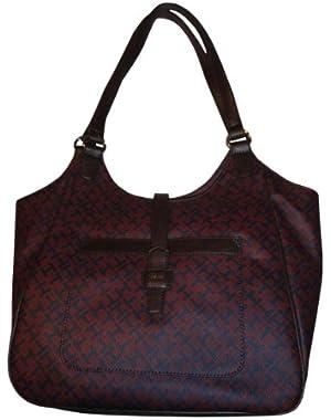 Women's NS Tote Handbag, Large, Burgandy/Navy Alpaca