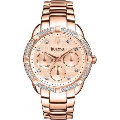 Bulova 98W178 Ladies Diamond Rose Gold Plated Chronograph Watch