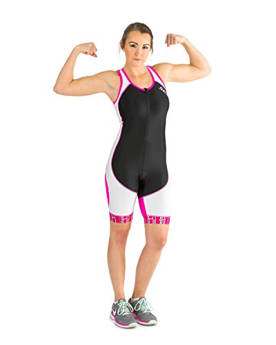 SLS3 Womens Triathlon Tri Race Suit - 1 Pocket Skinsuit Trisuit (Black/Pink, - Sleeves With Tri Suit