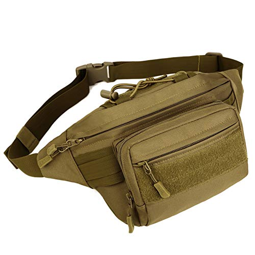 DYJ Tactical Waist Bag Pack, Military Fanny Pack with Adjustable Strap Water-Resistant Hip Bumbag for Outdoors Workout Traveling Casual Hiking Climbing Cycling(Coyote Brown-2)