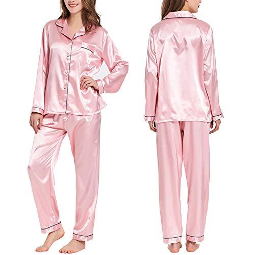 Ladieshow Women Pajamas Satin Ladies Pj Set Long Sleeve Sleepwear Two Piece ()