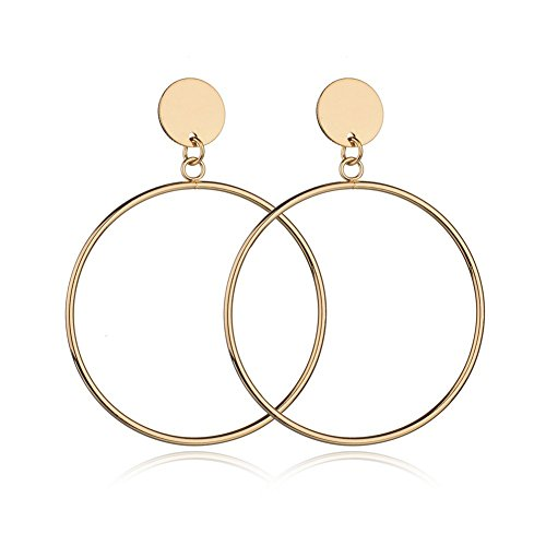 (Big Hoop Dangle Earrings for Women Simple Geometric Round Circle Disc Drop Earrings Fashion Jewelry Gift (Gold))